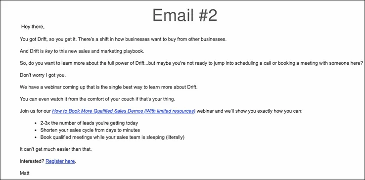 An example of a drip email campaign